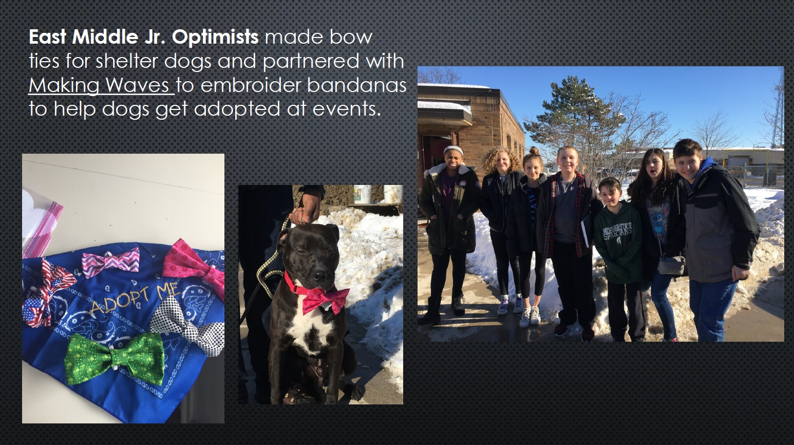 East Middle School Ties for shelter dogs