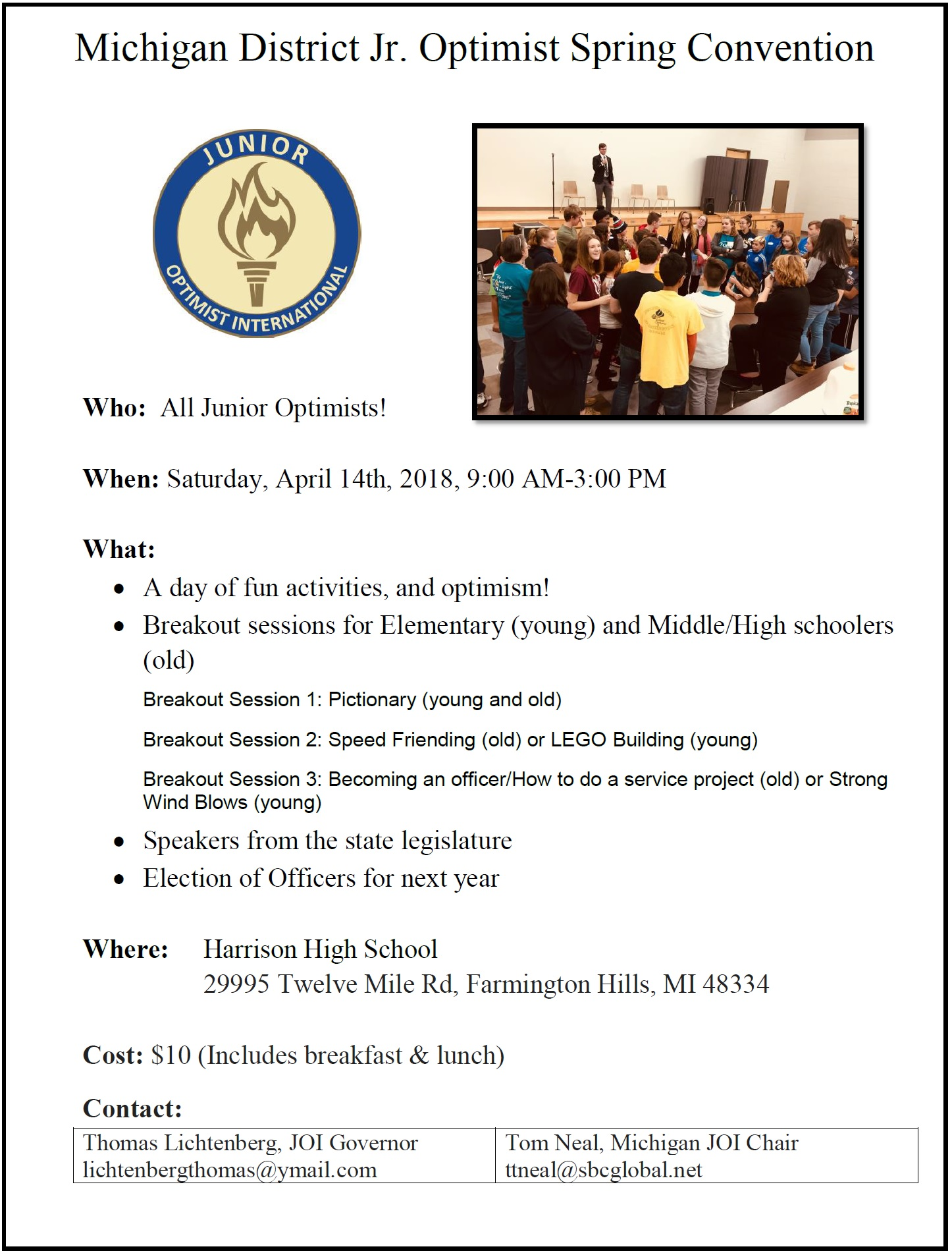 Michigan District Junior Optimist Spring Convention