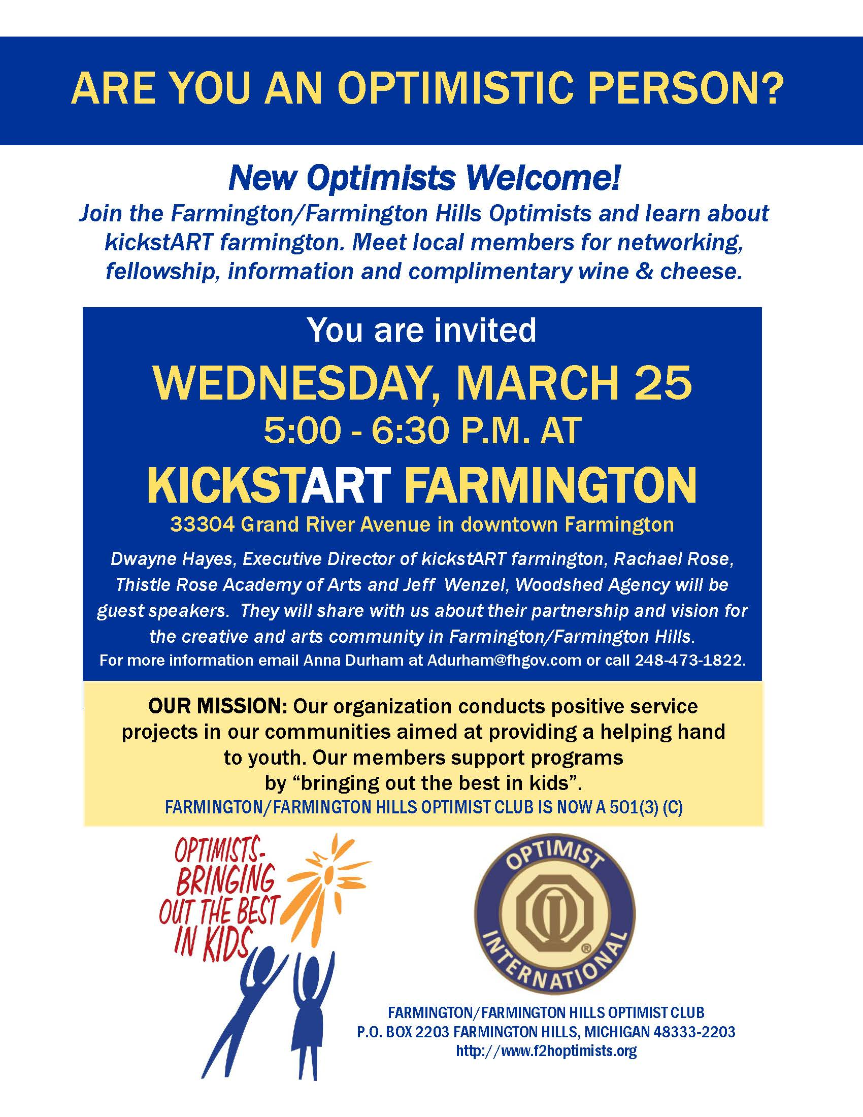 Optimist NOW Flyer March 2020